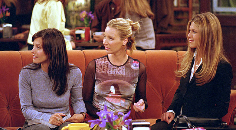 Friends - Monica, Phoebe and Rachel on the iconic sofa