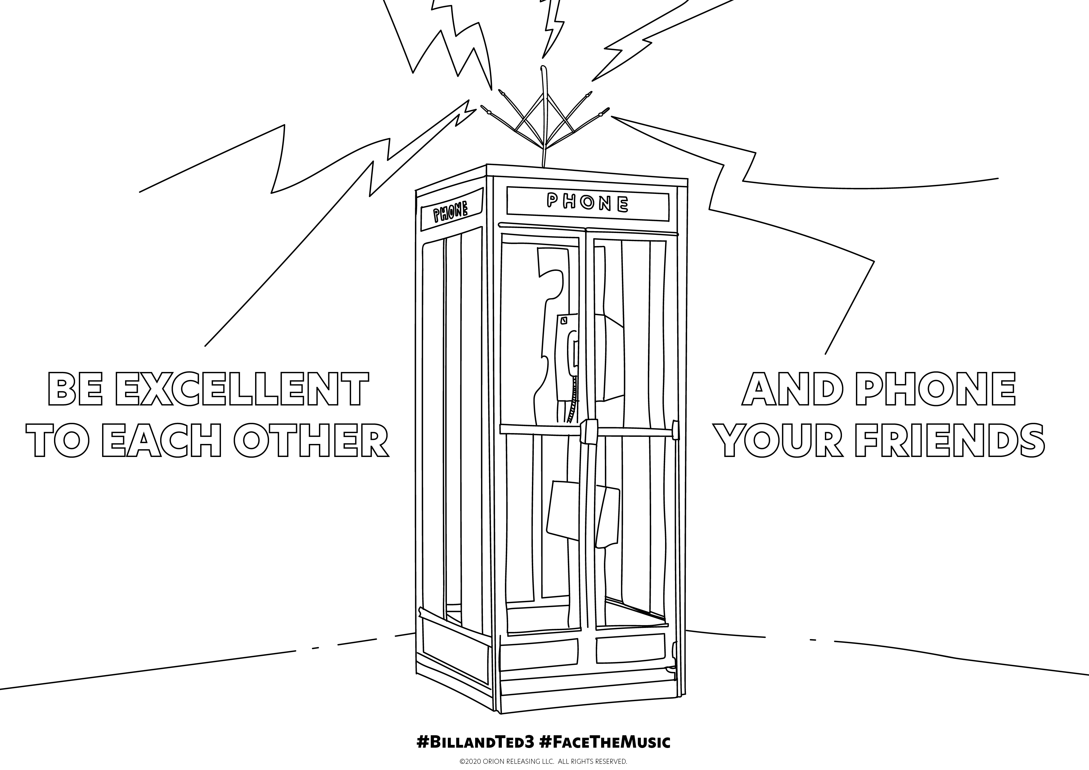 bill and ted colouring sheet